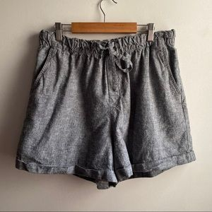 Uniqlo heathered blue linen cotton elastic shorts
